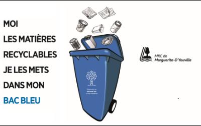 Nouvelle campagne de sensibilisation: Moi, les matières recyclables je les mets dans mon bac bleu