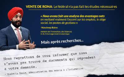 Aucune étude sur la vente du quincailler RONA à Lowe's: « Pour le ministre Bains, RONA ne vaut pas un clou » -Xavier Barsalou Duval