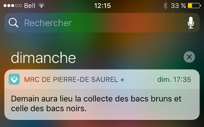 Les alertes collectes maintenant disponibles sur l'application MRC de Pierre-De Saurel +