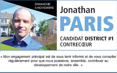 Élections municipales à Contrecoeur: message de Jonathan Paris, candidat du district #1