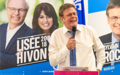En présence de Catherine Fournier, candidate dans Marie-Victorin: un local bondé pour le lancement de campagne de Sylvain Rochon