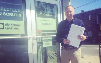 Richelieu: Jean-Bernard Émond dépose son bulletin de candidature et procède à l'ouverture du local électoral de la CAQ