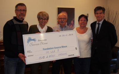 Le Club de Bridge de Varennes a remis à ce jour 14 665 $ à la Fondation Source Bleue
